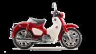 Gama 125cc. Foto lateral derecho de la Honda Super Cub color rojo y blanco
