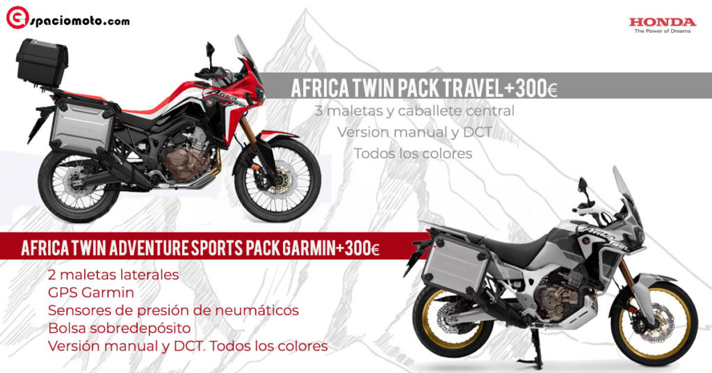 Oferta especial Africa Twin CRF1000 y Adventure sports con pack travel y pack garmin